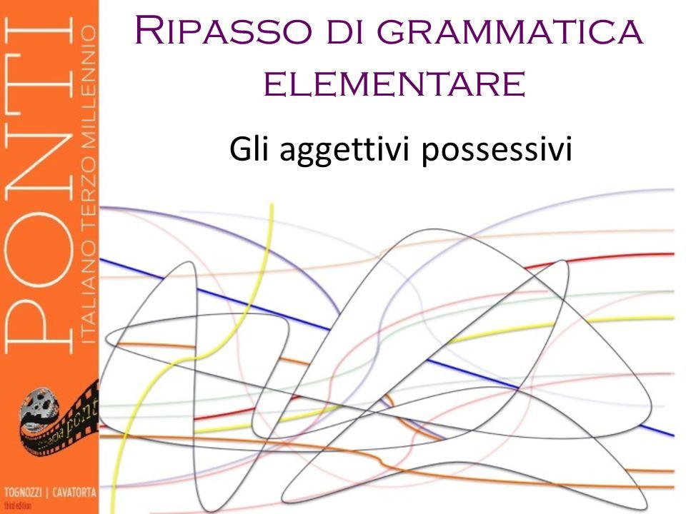 Ripasso di grammatica elementare Gli aggettivi possessivi