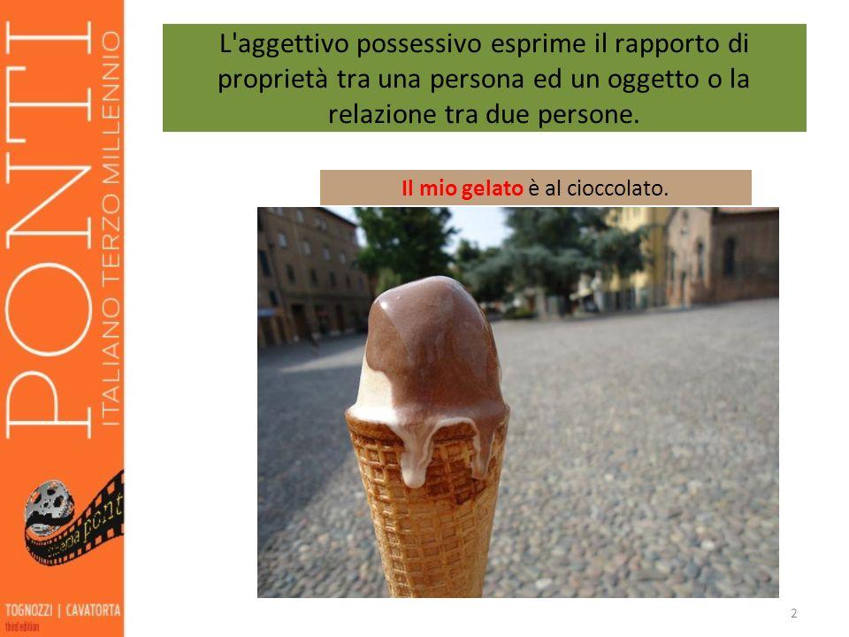 2 L'aggettivo possessivo esprime il rapporto di proprietà tra una persona ed un oggetto o la relazione tra due persone. Il mio gelato è al cioccolato.