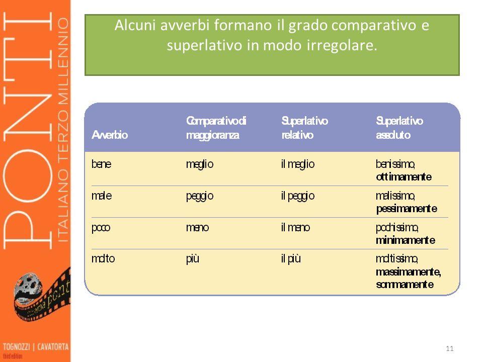 11 Alcuni avverbi formano il grado comparativo e superlativo in modo irregolare.