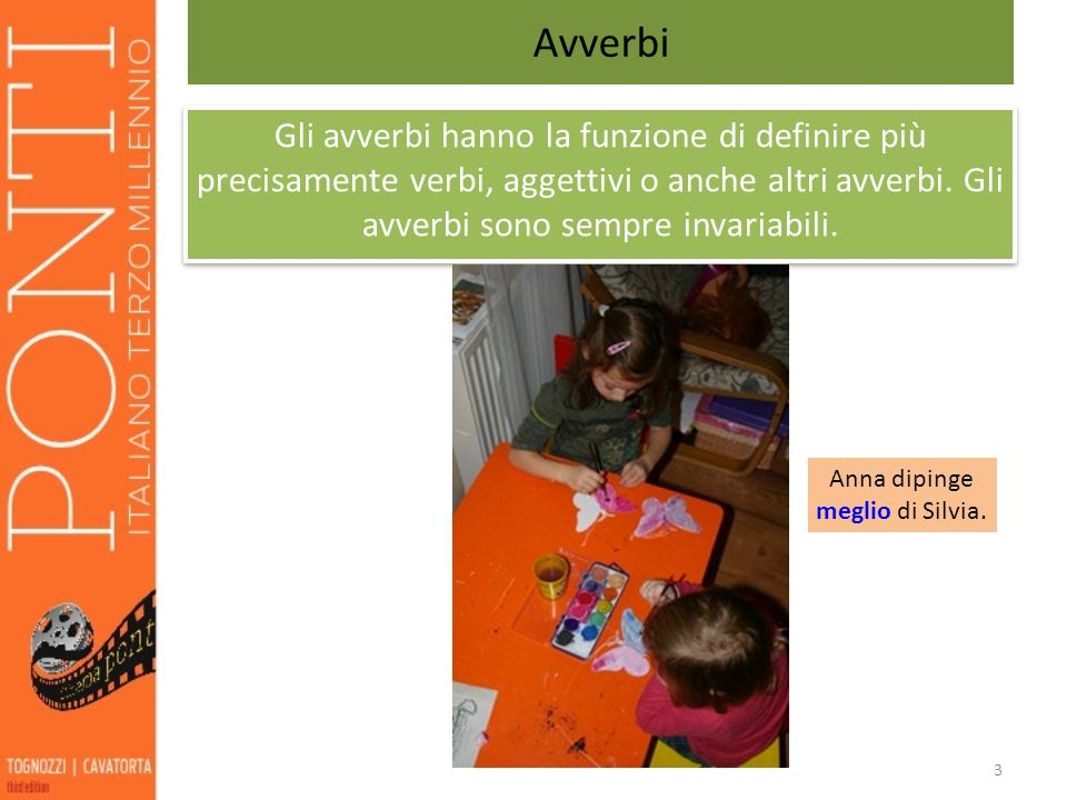 3 Avverbi Gli avverbi hanno la funzione di definire più precisamente verbi, aggettivi o anche altri avverbi. Gli avverbi sono sempre invariabili. Anna