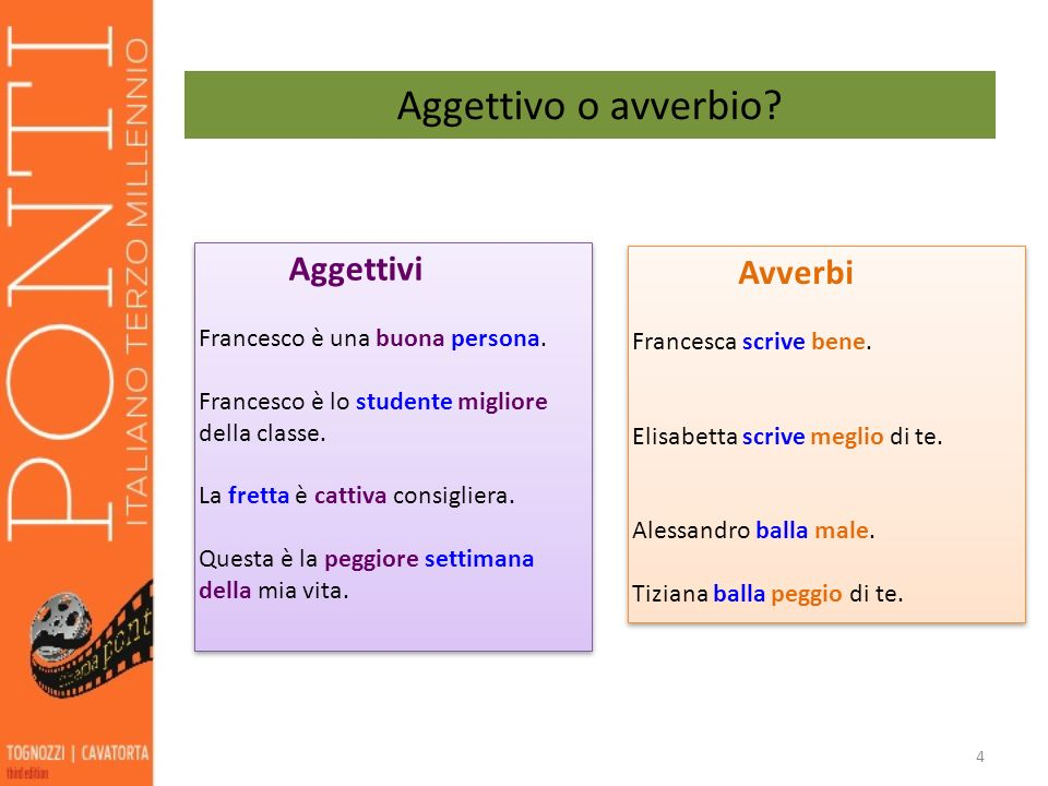 4 Aggettivo o avverbio? Aggettivi Francesco è una buona persona. Francesco è lo studente migliore della classe. La fretta è cattiva consigliera. Quest