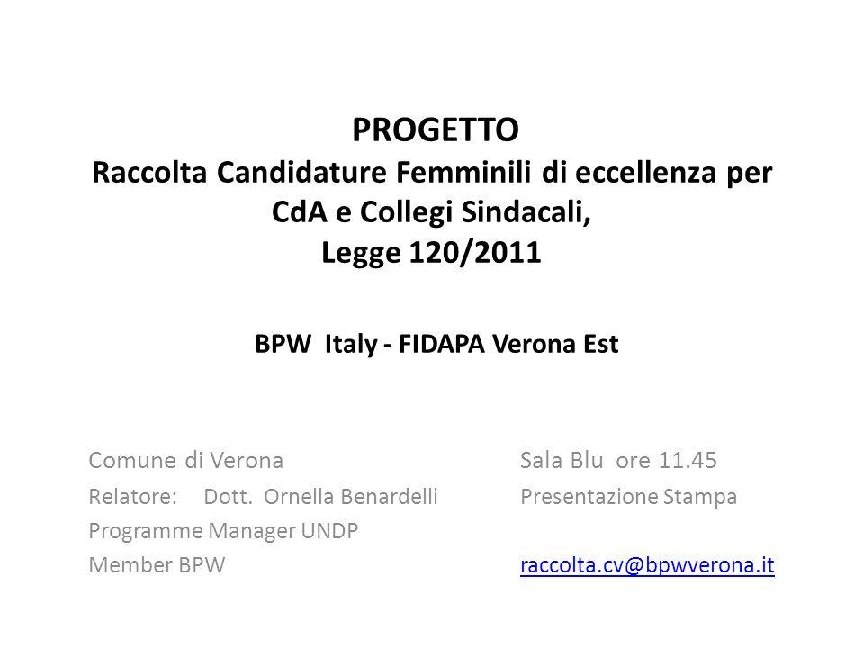PROGETTO Raccolta Candidature Femminili di eccellenza per CdA e Collegi Sindacali, Legge 120/2011 BPW Italy - FIDAPA Verona Est Comune di Verona Sala