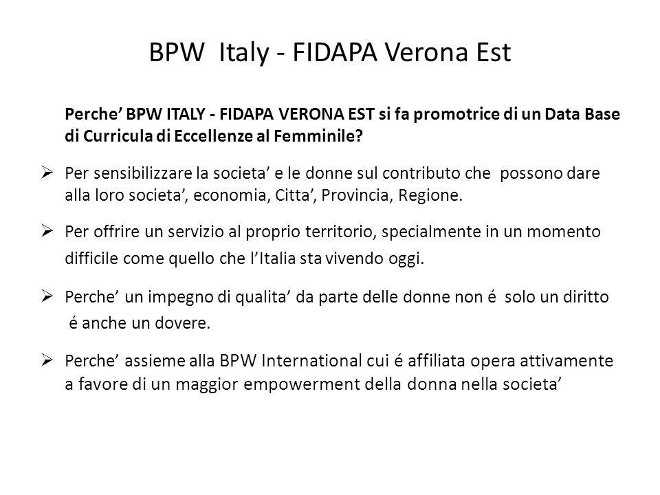 BPW Italy - FIDAPA Verona Est Perche BPW ITALY - FIDAPA VERONA EST si fa promotrice di un Data Base di Curricula di Eccellenze al Femminile? Per sensi