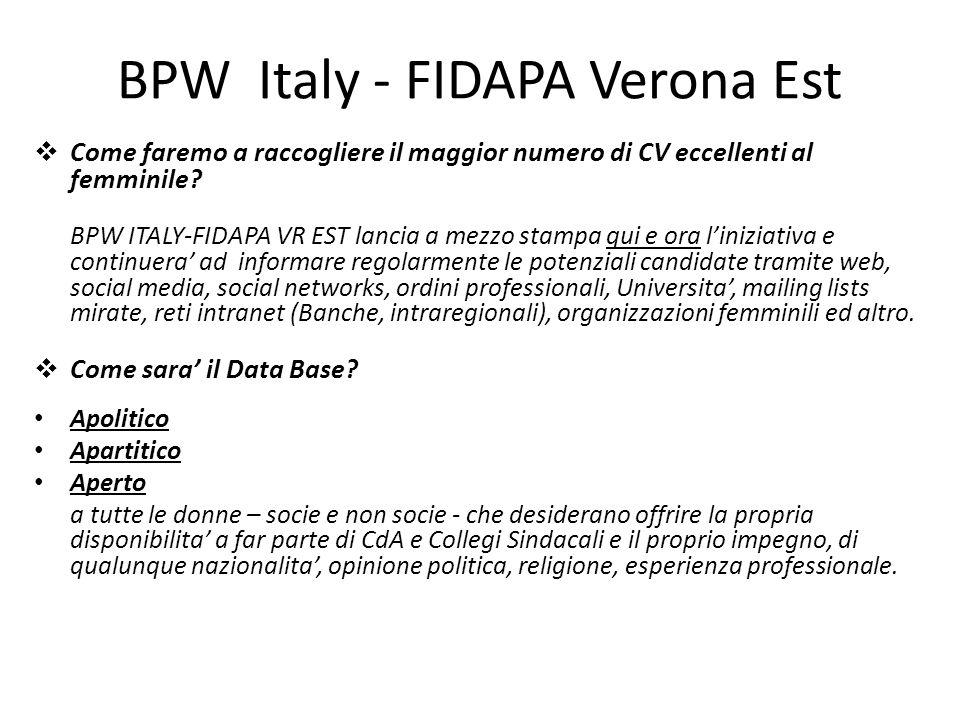 BPW Italy - FIDAPA Verona Est Come faremo a raccogliere il maggior numero di CV eccellenti al femminile? BPW ITALY-FIDAPA VR EST lancia a mezzo stampa