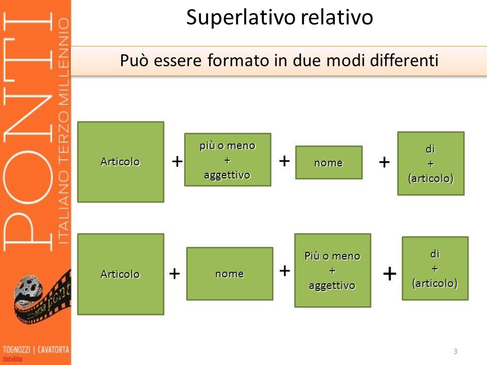 3 Superlativo relativo Può essere formato in due modi differenti Articolo più o meno +aggettivo + nome + di+(articolo) + Articolo + nome + Più o meno
