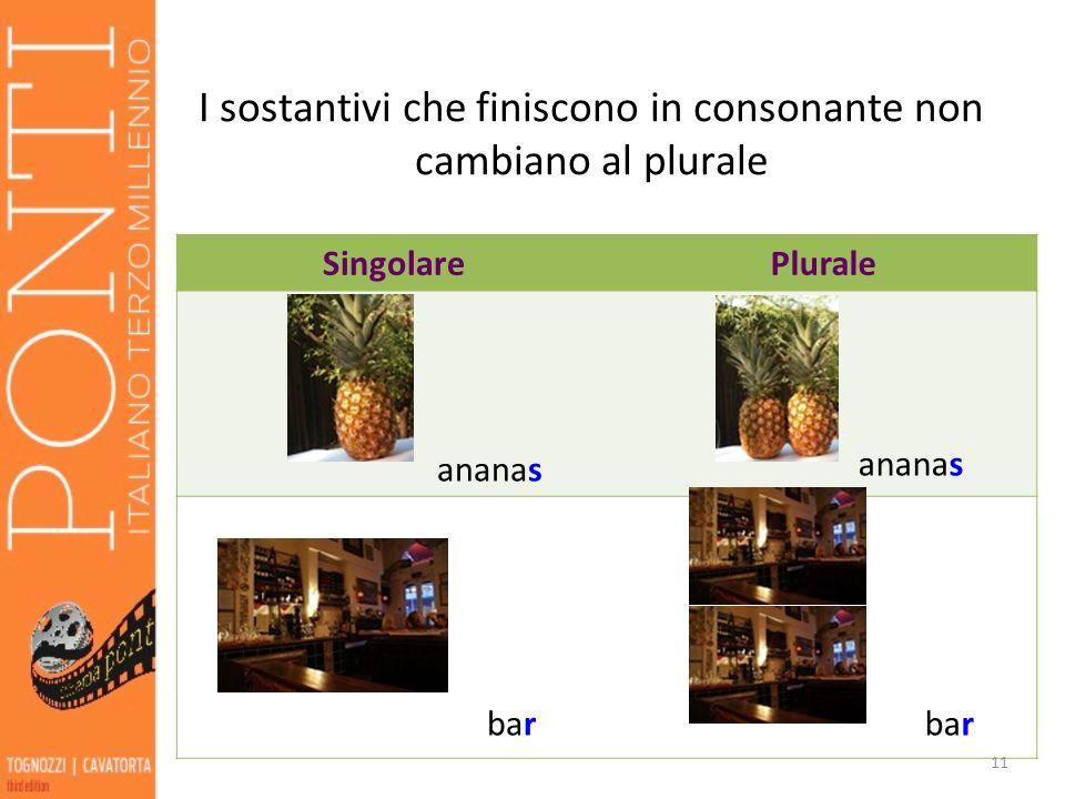 I sostantivi che finiscono in consonante non cambiano al plurale SingolarePlurale ananas ananas bar 11