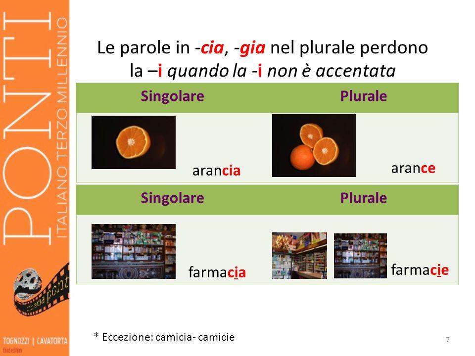 Le parole in -cia, -gia nel plurale perdono la –i quando la -i non è accentata 7 SingolarePlurale arancia arance * Eccezione: camicia- camicie Singola