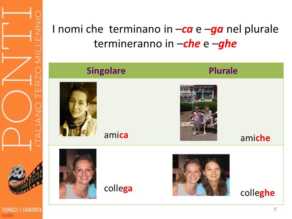I nomi che terminano in –ca e –ga nel plurale termineranno in –che e –ghe SingolarePlurale amica amiche collega colleghe 8