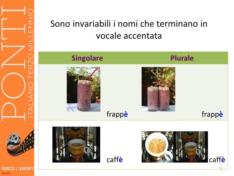Sono invariabili i nomi che terminano in vocale accentata SingolarePlurale frappè caffè 9