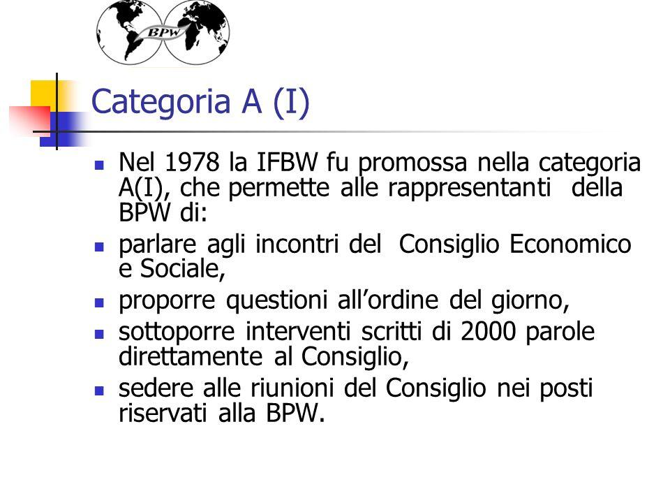 Categoria A (I) Nel 1978 la IFBW fu promossa nella categoria A(I), che permette alle rappresentanti della BPW di: parlare agli incontri del Consiglio Economico e Sociale, proporre questioni allordine del giorno, sottoporre interventi scritti di 2000 parole direttamente al Consiglio, sedere alle riunioni del Consiglio nei posti riservati alla BPW.