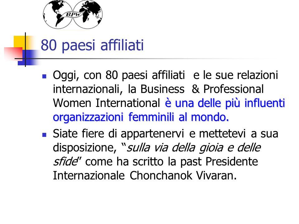 80 paesi affiliati è una delle più influenti organizzazioni femminili al mondo. Oggi, con 80 paesi affiliati e le sue relazioni internazionali, la Bus