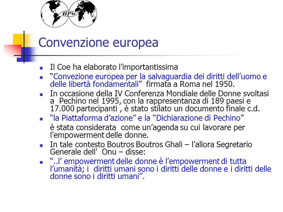 Convenzione europea Il Coe ha elaborato limportantissima Convezione europea per la salvaguardia dei diritti delluomo e delle libertà fondamentali firmata a Roma nel 1950.