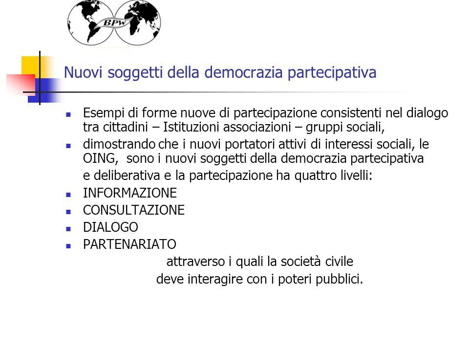 Nuovi soggetti della democrazia partecipativa Esempi di forme nuove di partecipazione consistenti nel dialogo tra cittadini – Istituzioni associazioni