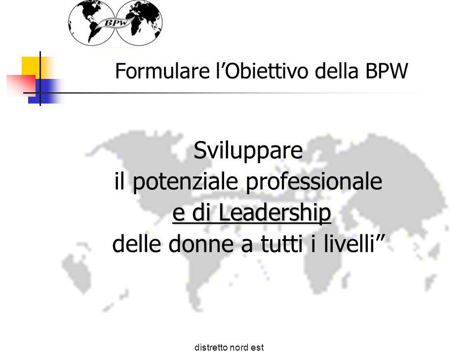 Formulare lObiettivo della BPW Sviluppare il potenziale professionale e di Leadership delle donne a tutti i livelli distretto nord est 44