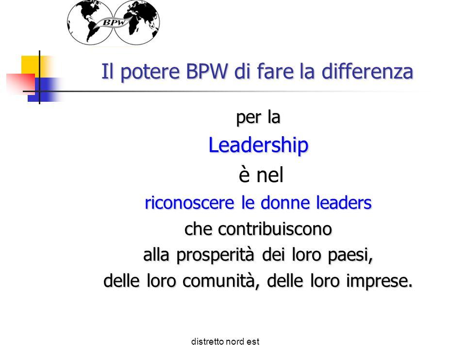 Il potere BPW di fare la differenza per la Leadership è nel riconoscere le donne leaders che contribuiscono alla prosperità dei loro paesi, delle loro comunità, delle loro imprese.