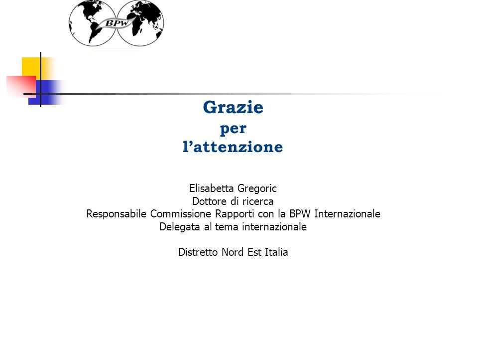 52 Grazie per lattenzione Elisabetta Gregoric Dottore di ricerca Responsabile Commissione Rapporti con la BPW Internazionale Delegata al tema internazionale Distretto Nord Est Italia
