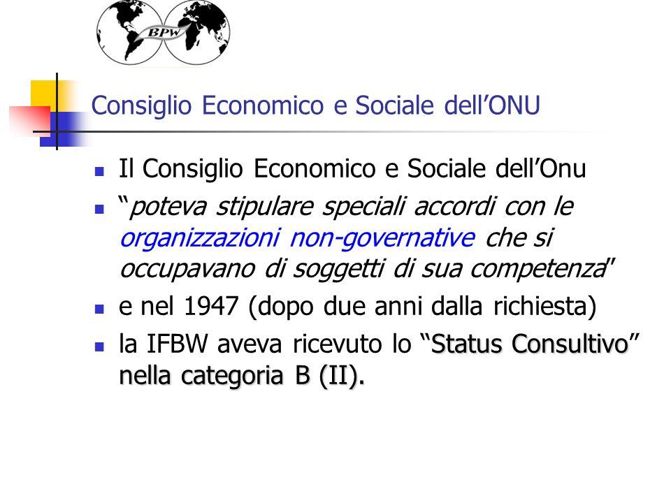 Consiglio Economico e Sociale dellONU Il Consiglio Economico e Sociale dellOnu poteva stipulare speciali accordi con le organizzazioni non-governative che si occupavano di soggetti di sua competenza e nel 1947 (dopo due anni dalla richiesta) Status Consultivo nella categoria B (II).