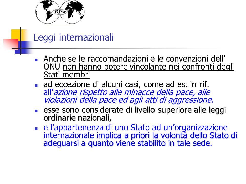 Leggi internazionali Anche se le raccomandazioni e le convenzioni dell ONU non hanno potere vincolante nei confronti degli Stati membri ad eccezione di alcuni casi, come ad es.