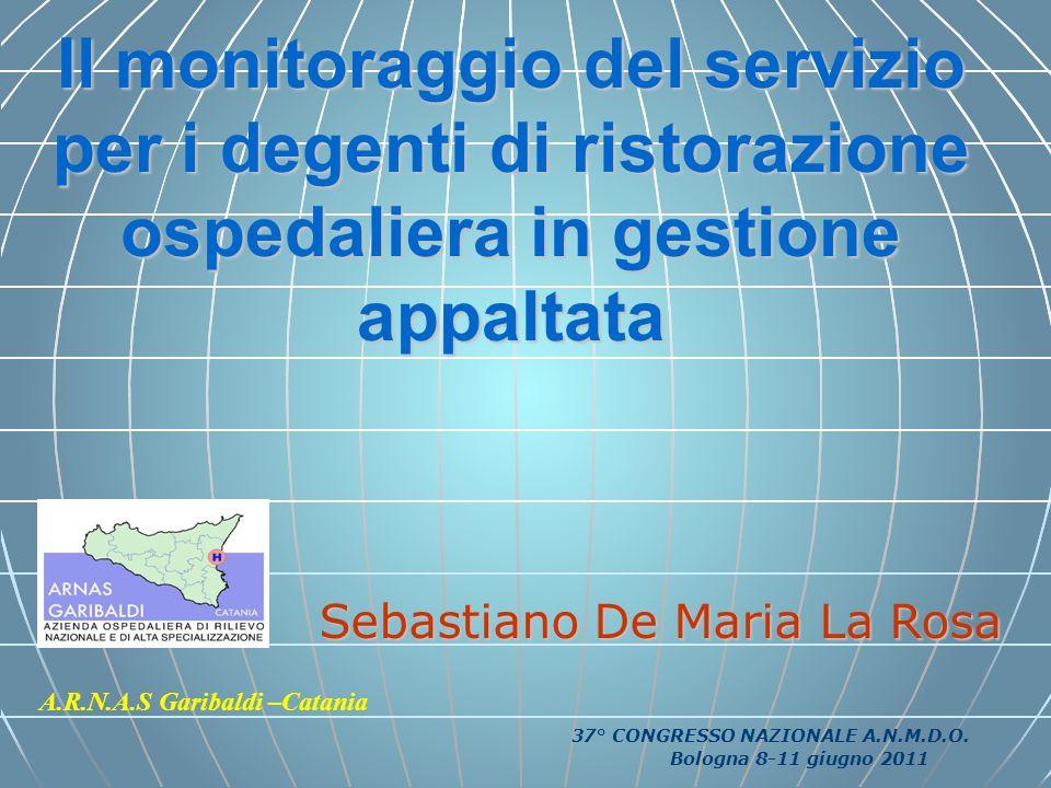 Il monitoraggio del servizio per i degenti di ristorazione ospedaliera in gestione appaltata Sebastiano De Maria La Rosa A.R.N.A.S Garibaldi –Catania