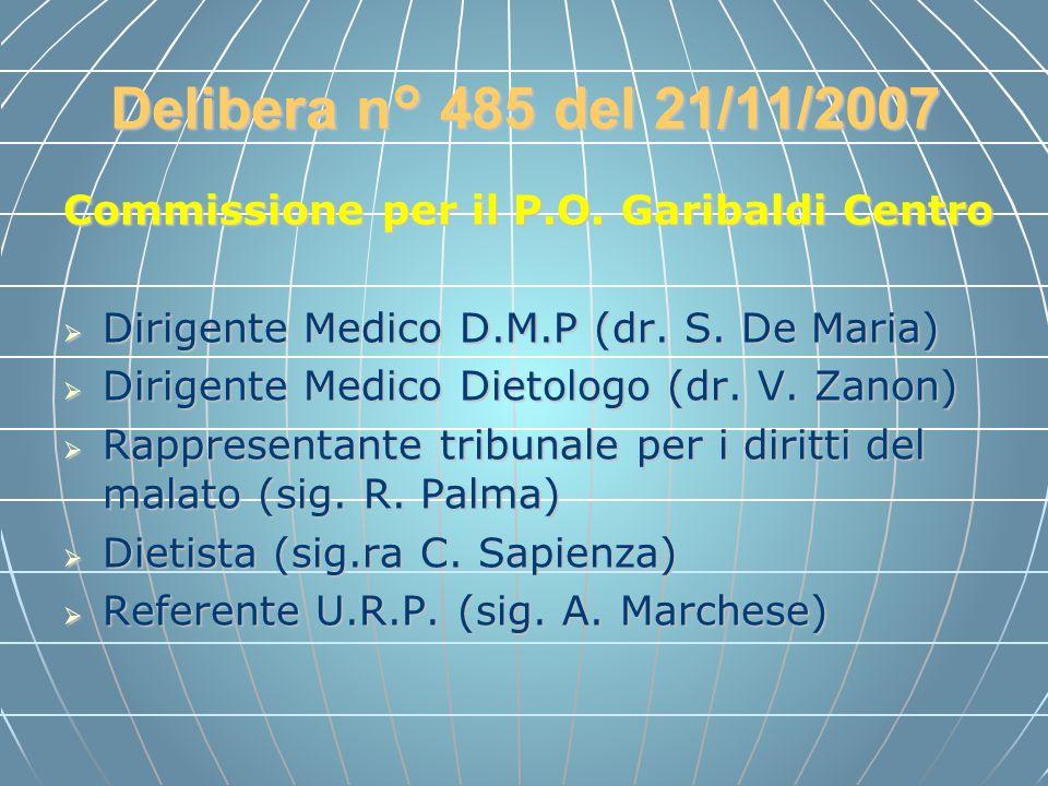 Delibera n° 485 del 21/11/2007 Commissione per il P.O. Garibaldi Centro Dirigente Medico D.M.P (dr. S. De Maria) Dirigente Medico D.M.P (dr. S. De Mar