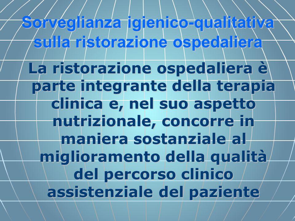 Sorveglianza igienico-qualitativa sulla ristorazione ospedaliera La ristorazione ospedaliera è parte integrante della terapia clinica e, nel suo aspet