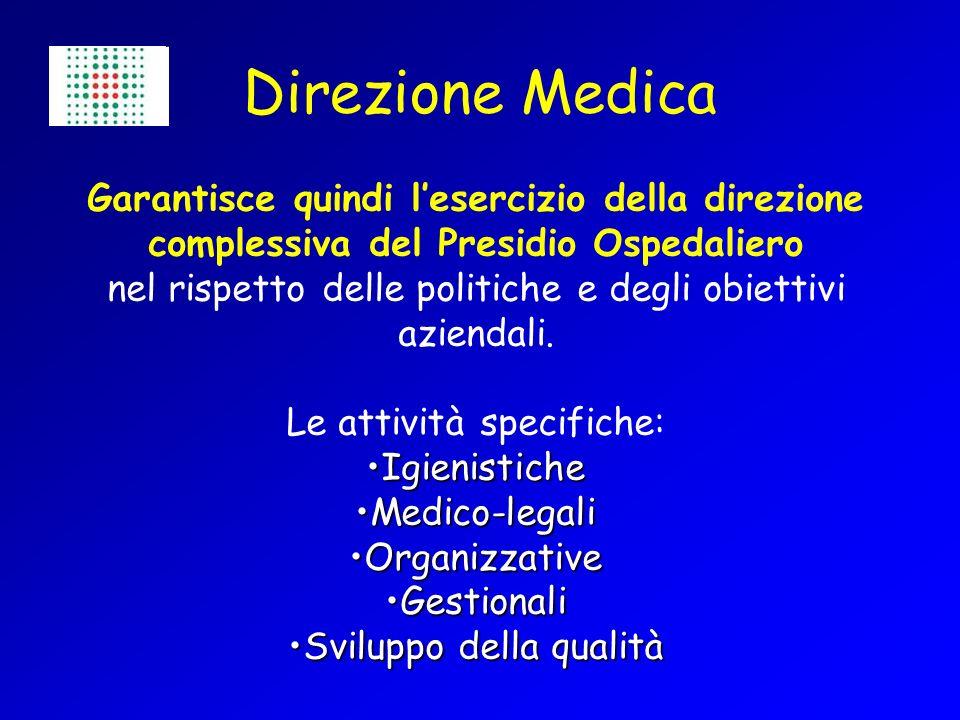 Direzione Medica Garantisce quindi lesercizio della direzione complessiva del Presidio Ospedaliero nel rispetto delle politiche e degli obiettivi azie