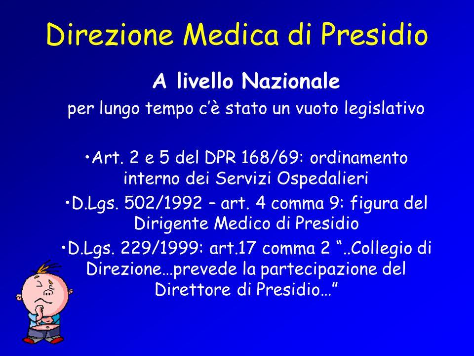 Direzione Medica di Presidio A livello Nazionale per lungo tempo cè stato un vuoto legislativo Art. 2 e 5 del DPR 168/69: ordinamento interno dei Serv