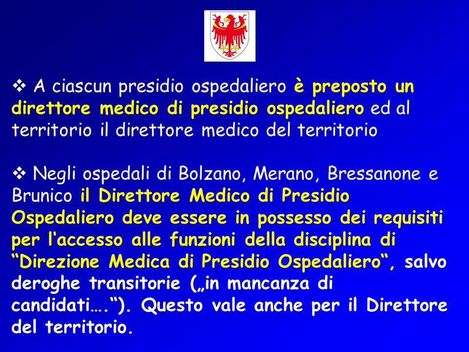 A ciascun presidio ospedaliero è preposto un direttore medico di presidio ospedaliero ed al territorio il direttore medico del territorio Negli ospeda