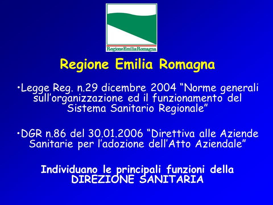 Regione Emilia Romagna Legge Reg. n.29 dicembre 2004 Norme generali sullorganizzazione ed il funzionamento del Sistema Sanitario Regionale DGR n.86 de