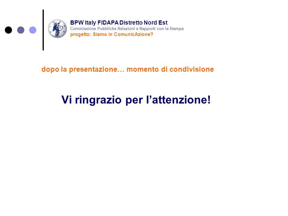 Vi ringrazio per lattenzione! dopo la presentazione… momento di condivisione BPW Italy FIDAPA Distretto Nord Est progetto: Siamo in ComunicAzione? Com