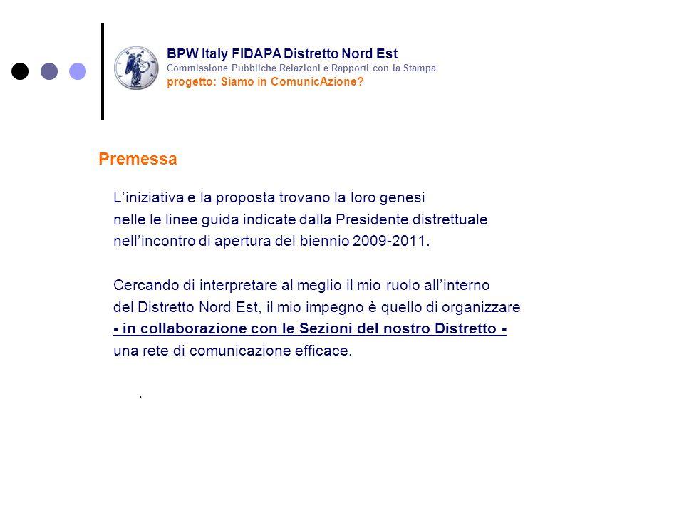 rendere ancor più operativa la Commissione pubbliche relazioni e rapporti con la stampa fare di questa Commissione uno strumento utile e al servizio delle iniziative del nostro Distretto e delle nostre Sezioni dare massima visibilità – a livello locale e nazionale – alle iniziative delle nostre Sezioni rafforzare la sinergia con la Responsabile Nazionale della mia commissione (dott.ssa Selma Chiosso) Finalità e obiettivi BPW Italy FIDAPA Distretto Nord Est progetto: Siamo in ComunicAzione.
