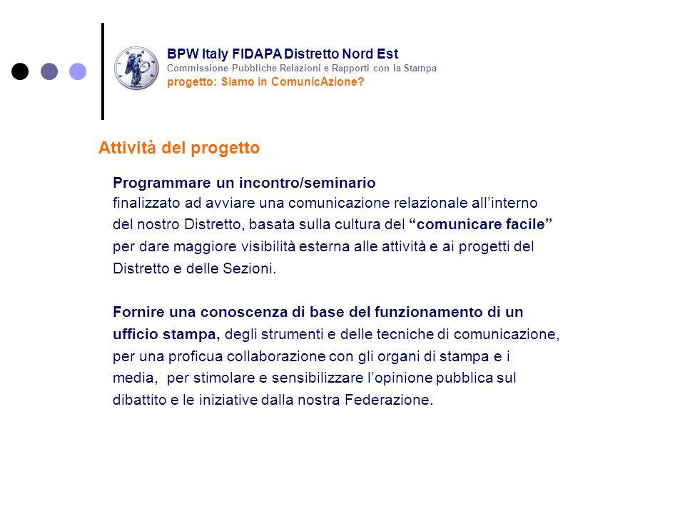 Formazione continua la Vostra Referente per le Pubbliche Relazioni e rapporti con la Stampa si rende disponibile per supportarVi nelle attività di gestione della comunicazione delle Vostre iniziative Attività del progetto BPW Italy FIDAPA Distretto Nord Est progetto: Siamo in ComunicAzione.