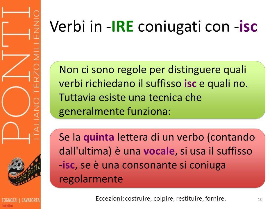 Verbi in -IRE coniugati con -isc 10 Eccezioni: costruire, colpire, restituire, fornire.