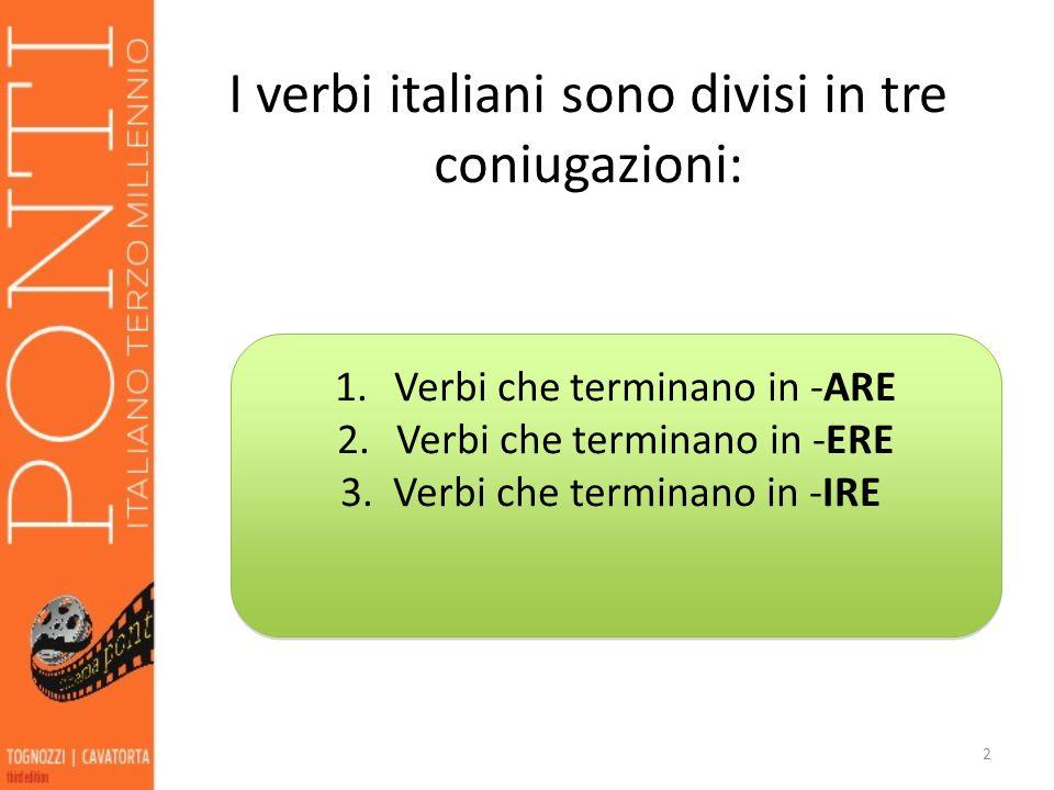I verbi italiani sono divisi in tre coniugazioni: 2 1.Verbi che terminano in -ARE 2.Verbi che terminano in -ERE 3.