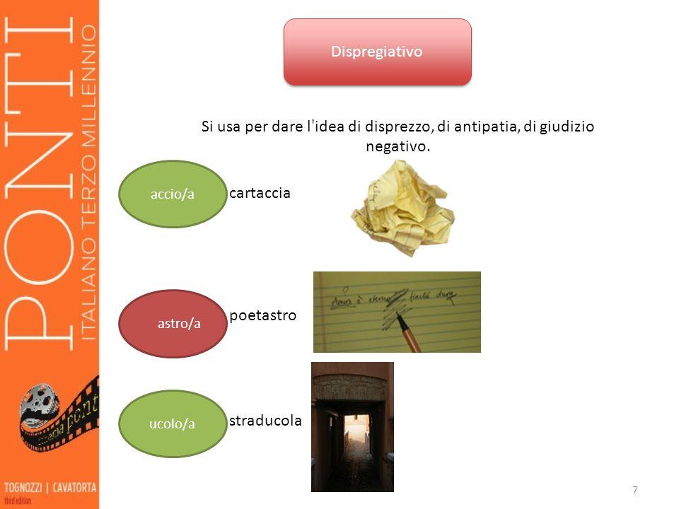 7 Dispregiativo Si usa per dare l idea di disprezzo, di antipatia, di giudizio negativo.