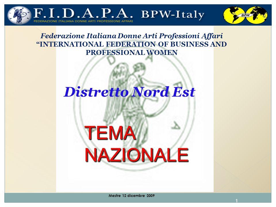 1 Mestre 12 dicembre 2009 Federazione Italiana Donne Arti Professioni Affari INTERNATIONAL FEDERATION OF BUSINESS AND PROFESSIONAL WOMEN Distretto Nord Est