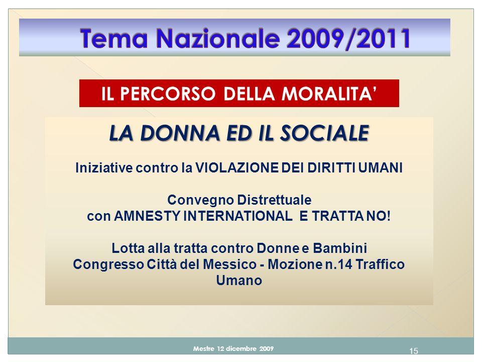 15 Mestre 12 dicembre 2009 IL PERCORSO DELLA MORALITA LA DONNA ED IL SOCIALE Iniziative contro la VIOLAZIONE DEI DIRITTI UMANI Convegno Distrettuale con AMNESTY INTERNATIONAL E TRATTA NO.