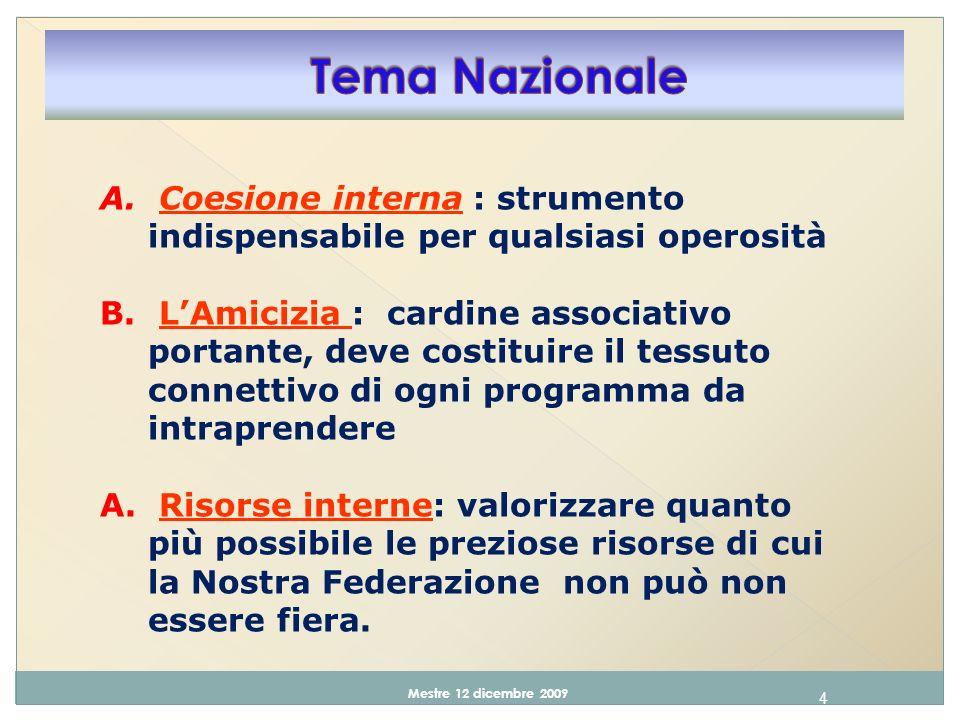 4 Mestre 12 dicembre 2009 A.Coesione interna : strumento indispensabile per qualsiasi operosità B.