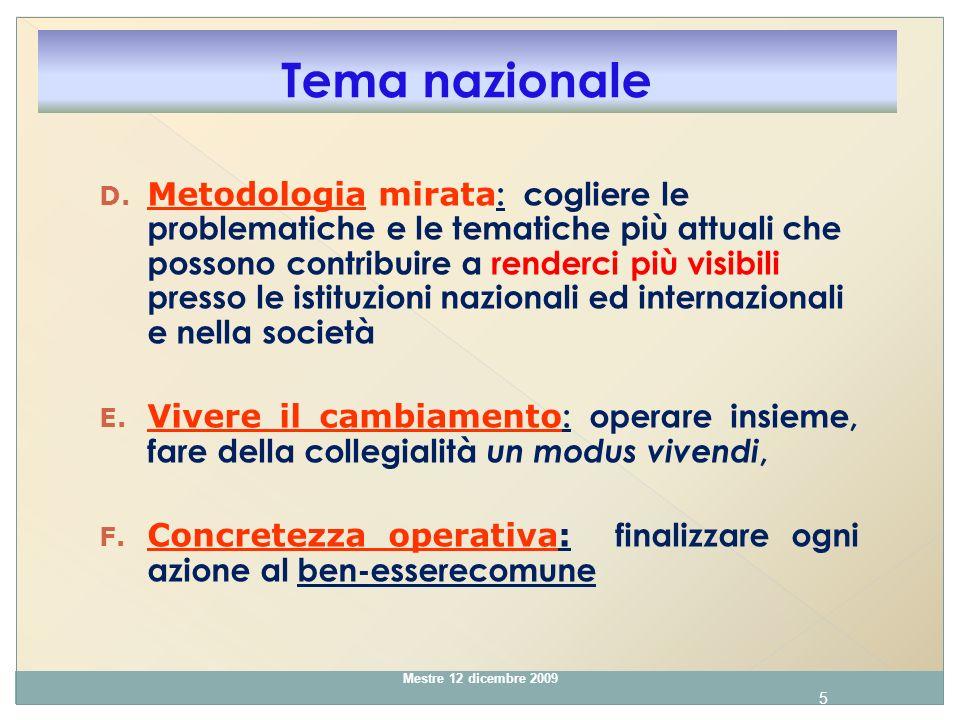 6 Mestre 12 dicembre 2009 G.Essere aperte al cambiamento e mostrarsi ricettive verso le nuove strategie: 1.
