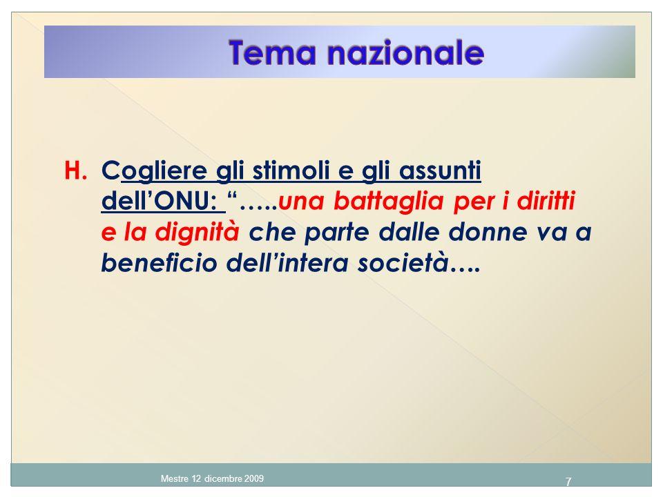 7 Mestre 12 dicembre 2009 H. Cogliere gli stimoli e gli assunti dellONU: …..