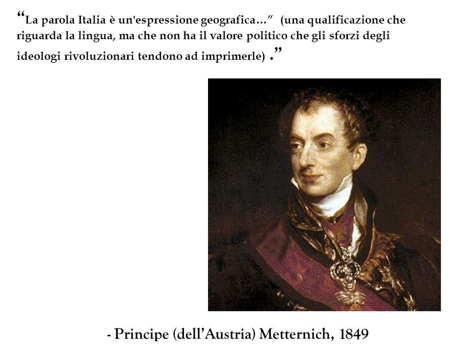 La parola Italia è un'espressione geografica… (una qualificazione che riguarda la lingua, ma che non ha il valore politico che gli sforzi degli ideolo