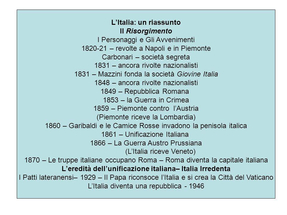 LItalia: un riassunto Il Risorgimento I Personaggi e Gli Avvenimenti 1820-21 – revolte a Napoli e in Piemonte Carbonari – società segreta 1831 – ancor