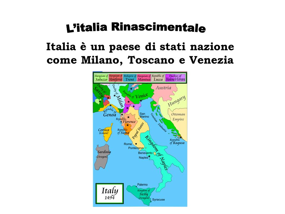 Italia è un paese di stati nazione come Milano, Toscano e Venezia