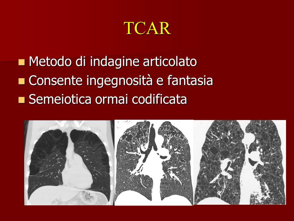 TCAR Metodo di indagine articolato Metodo di indagine articolato Consente ingegnosità e fantasia Consente ingegnosità e fantasia Semeiotica ormai codi