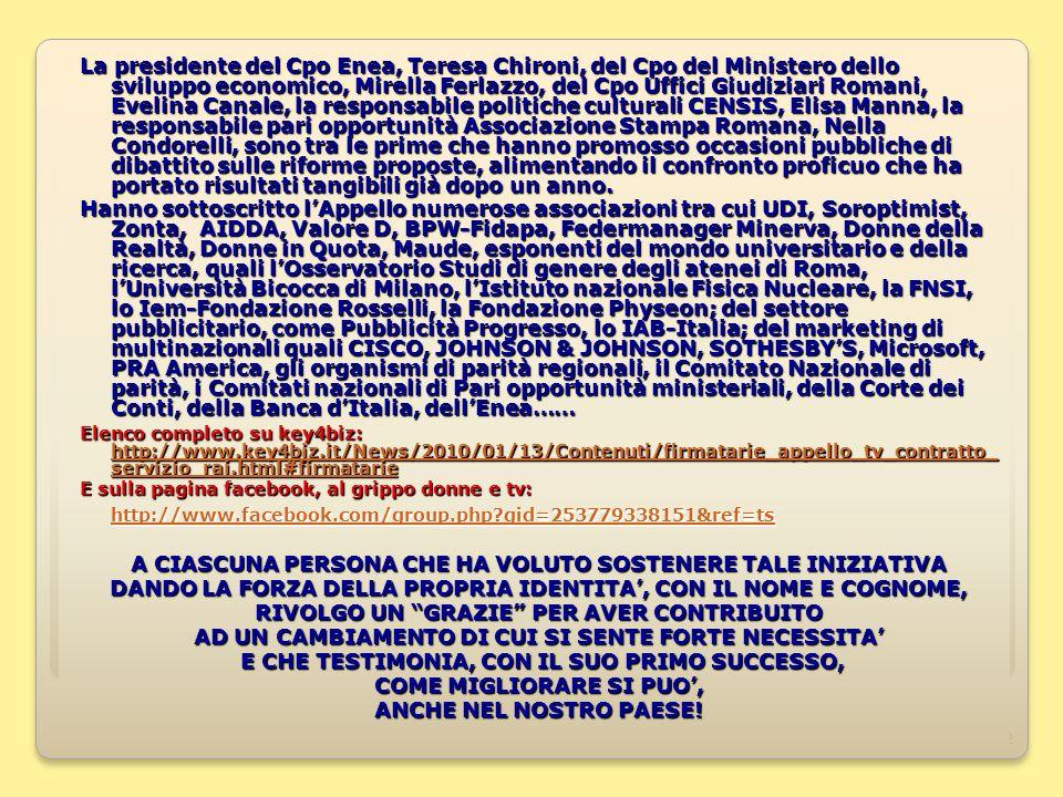 22 La presidente del Cpo Enea, Teresa Chironi, del Cpo del Ministero dello sviluppo economico, Mirella Ferlazzo, del Cpo Uffici Giudiziari Romani, Evelina Canale, la responsabile politiche culturali CENSIS, Elisa Manna, la responsabile pari opportunità Associazione Stampa Romana, Nella Condorelli, sono tra le prime che hanno promosso occasioni pubbliche di dibattito sulle riforme proposte, alimentando il confronto proficuo che ha portato risultati tangibili già dopo un anno.