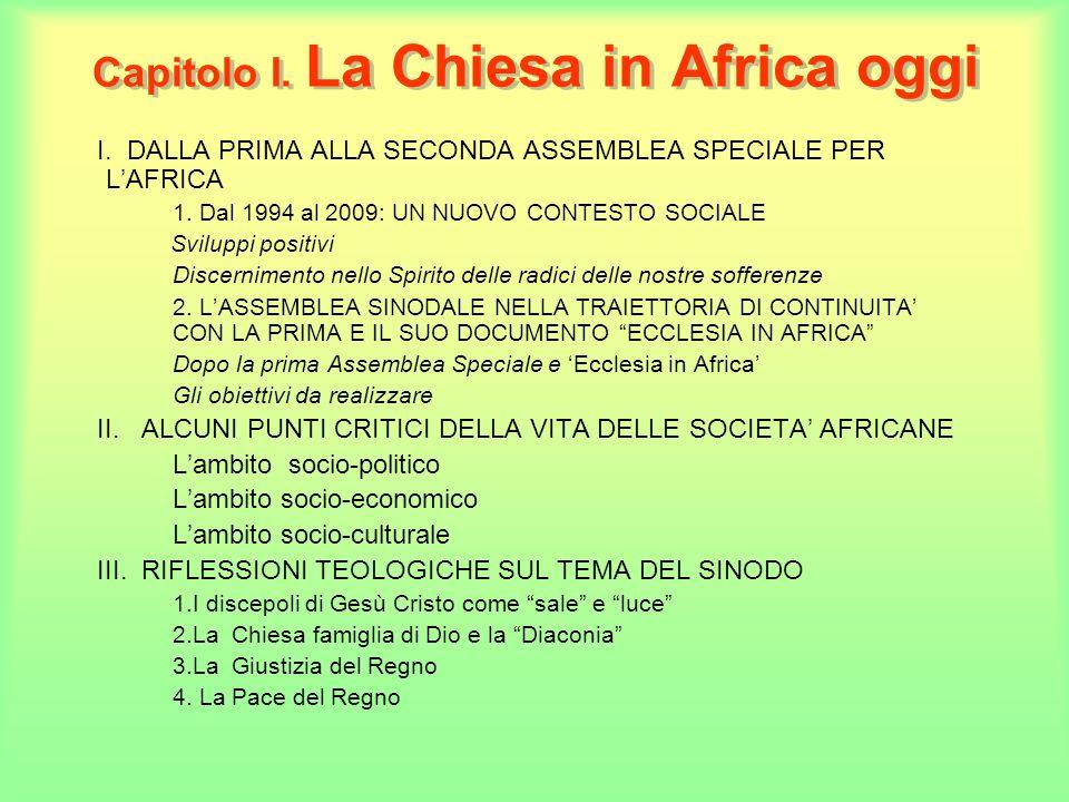 Capitolo I. La Chiesa in Africa oggi I. DALLA PRIMA ALLA SECONDA ASSEMBLEA SPECIALE PER LAFRICA 1.