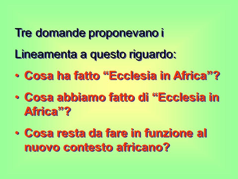 Tre domande proponevano i Lineamenta a questo riguardo: Cosa ha fatto Ecclesia in Africa.