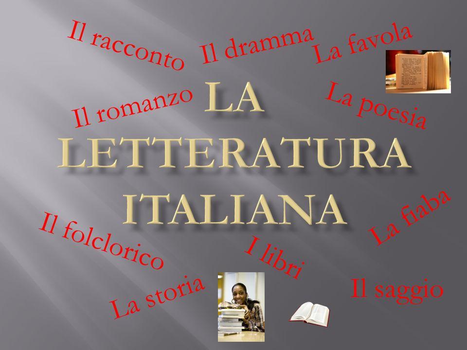 I libri Il romanzo Il racconto Il dramma La poesia La favola La fiaba Il saggio La storia Il folclorico