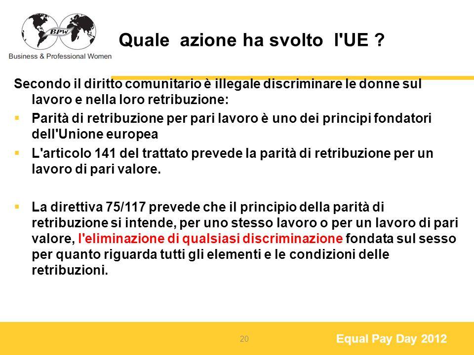 Equal Pay Day 2012 Quale azione ha svolto l UE .