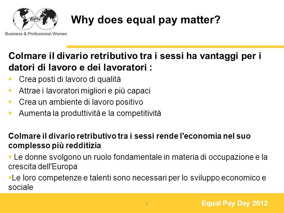 Equal Pay Day 2012 Eventi e Attività della BPW in Europa Durante l ora infelice caffè, bar, ristoranti e rivenditori offrono alle donne uno sconto del 20%, equivalente al divario retributivo nel paese Italy Spain Austria 14